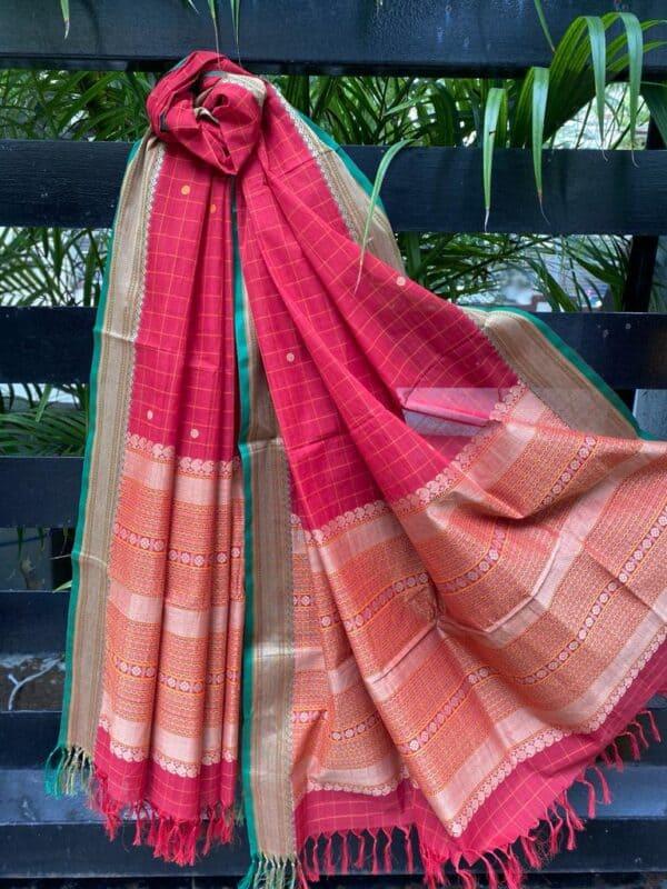 Red kanchi cotton dupatta