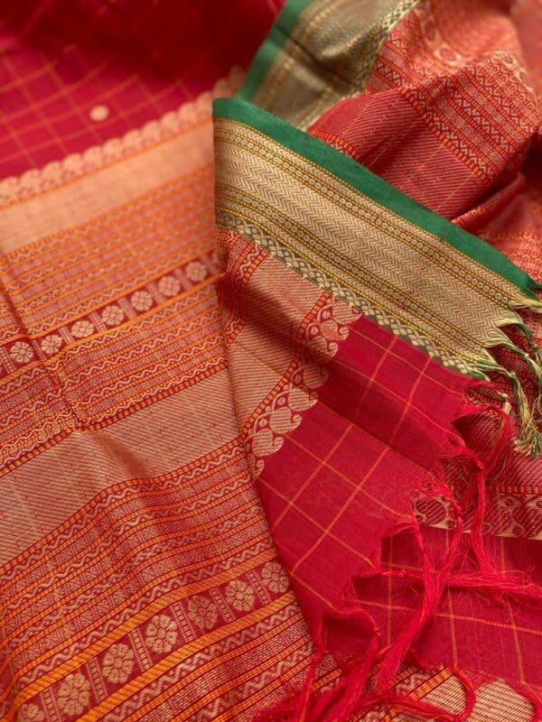Red kanchi cotton dupatta2