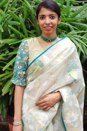 Safire green kalamkari blouse