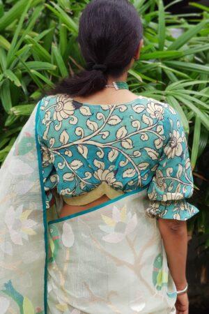 Safire green kalamkari blouse2