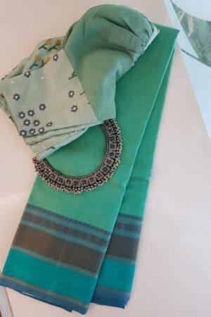 Sea green soft silk saree