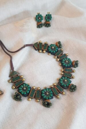Teal green and gold terracotta necklace