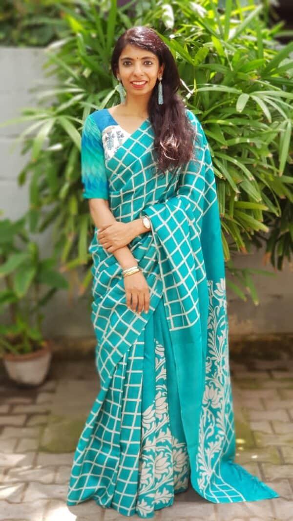 Teal green block printed tussar saree