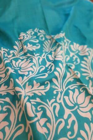 Teal green block printed tussar saree1