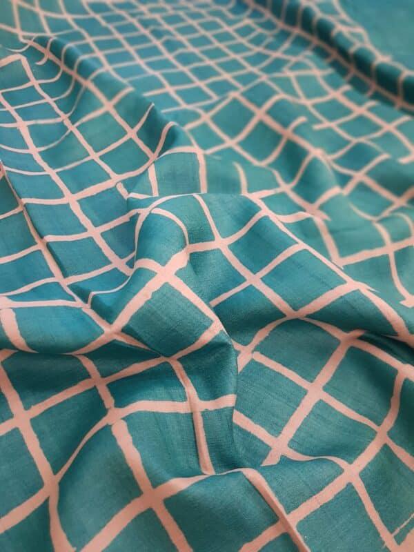 Teal green block printed tussar saree2