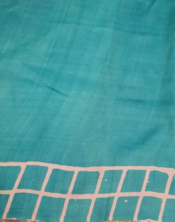 Teal green block printed tussar saree3
