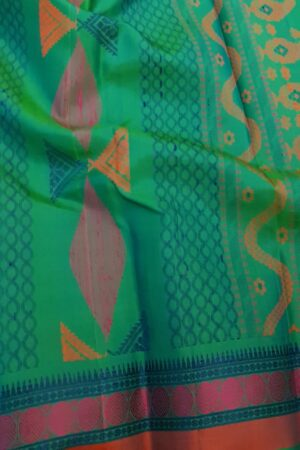 Teal green soft silk saree1