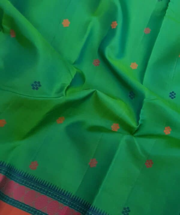 Teal green soft silk saree2