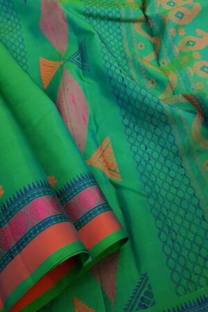 Teal green soft silk saree3