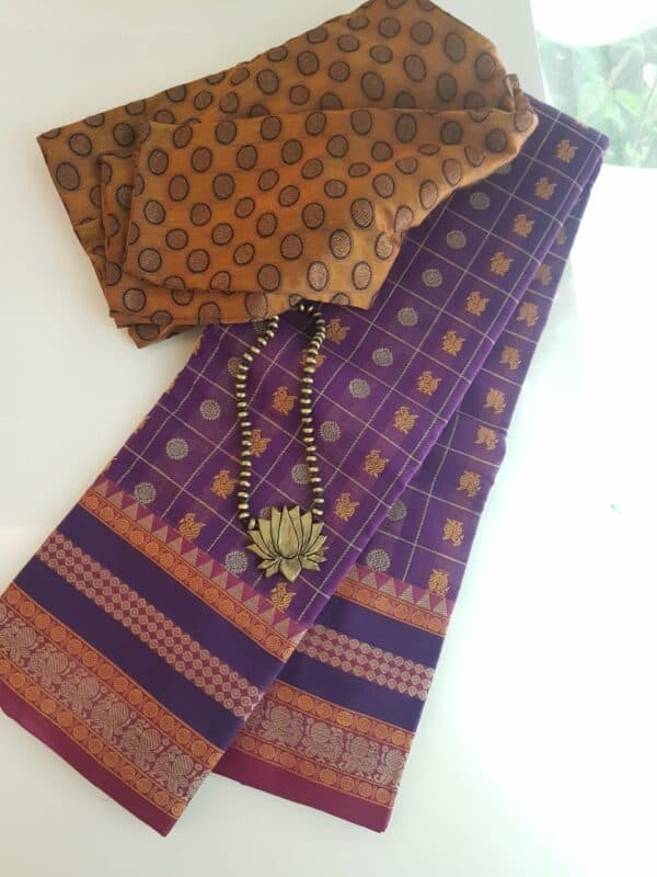 Violet kanchi cotton saree
