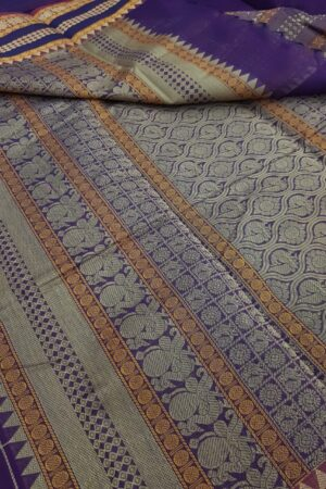 Violet kanchi cotton saree1