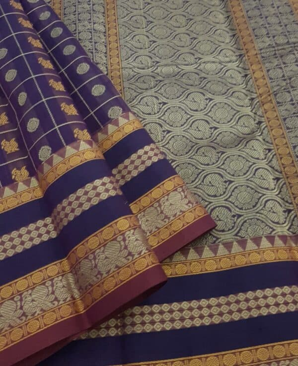 Violet kanchi cotton saree3