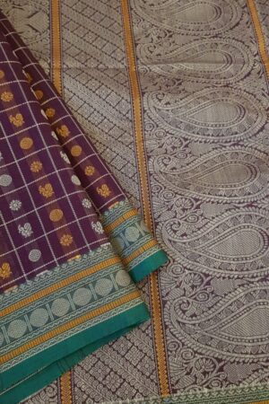 Wine kanchi cotton saree with mayil chakram motifs2
