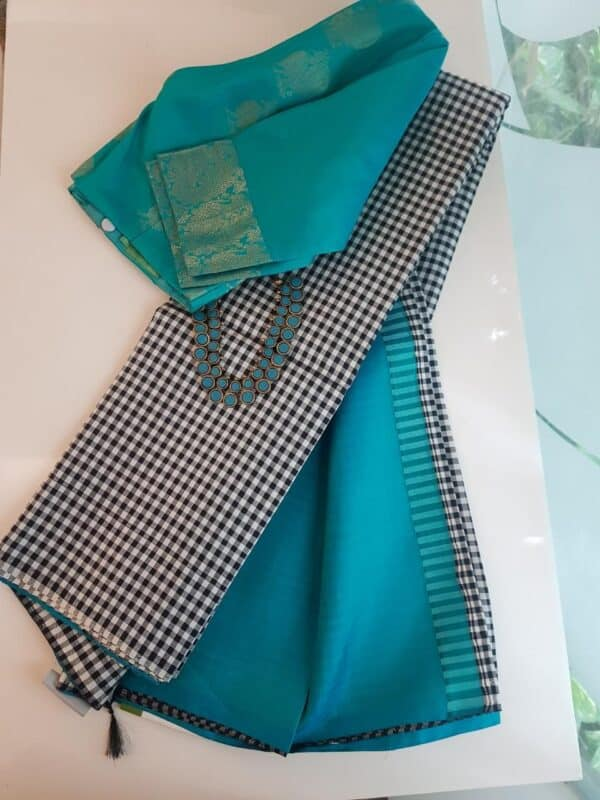 black and white checks half and half with teal