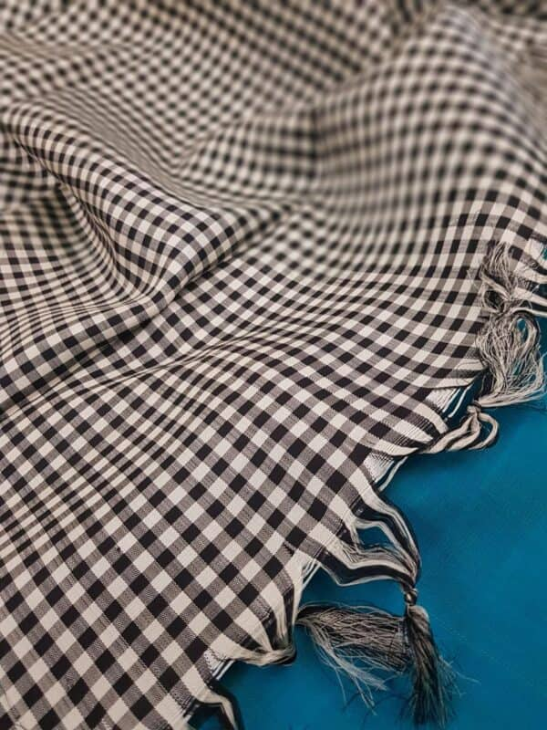 black and white checks half and half with teal1