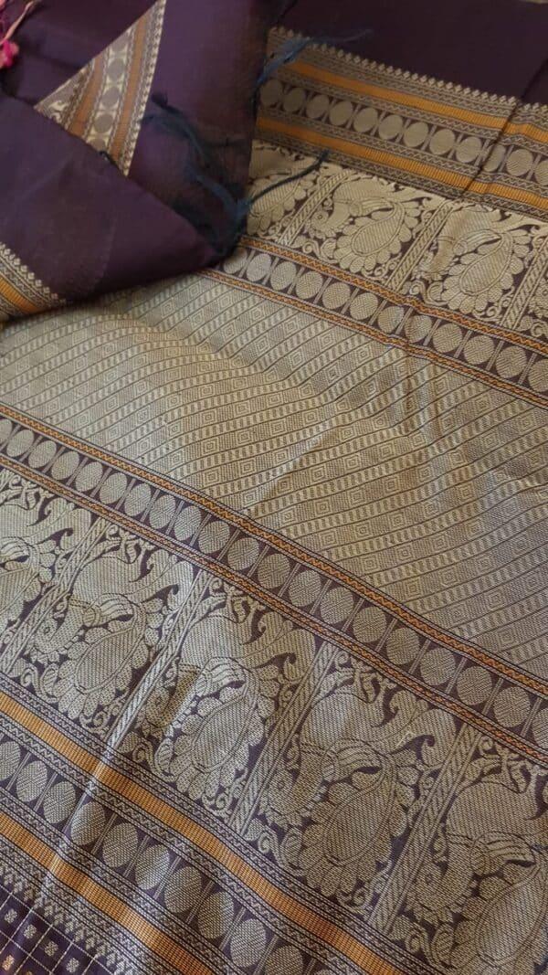 brown kanchi cotton saree with rudraksham border