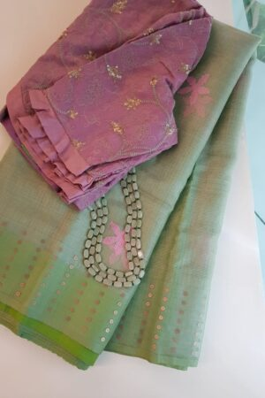 green organza with sequence border