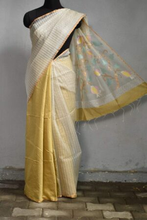 off white organza saree with woven sequence5