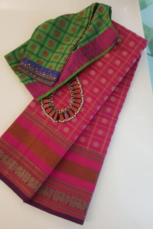pink kanchi cotton saree with checks and rudraksham