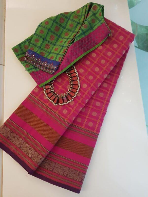 pink kanchi cotton saree with checks and rudraksham