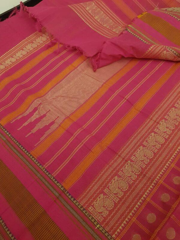 pink kanchi cotton saree with checks and rudraksham1