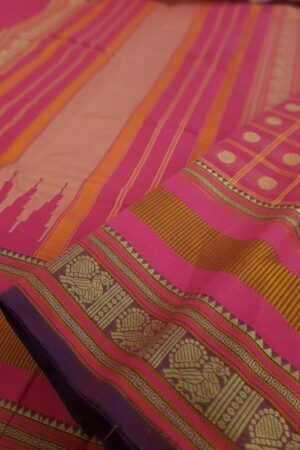 pink kanchi cotton saree with checks and rudraksham2