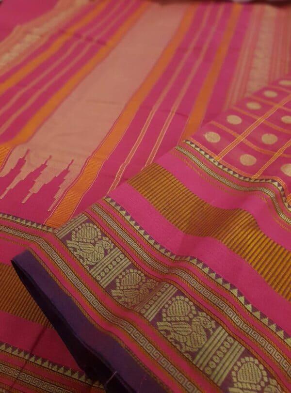 pink kanchi cotton saree with checks and rudraksham2