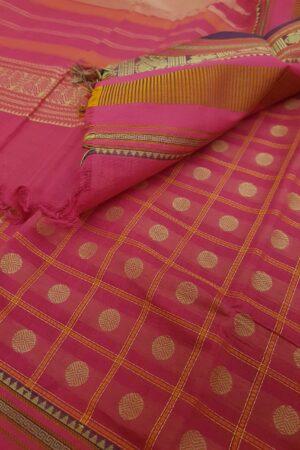 pink kanchi cotton saree with checks and rudraksham3