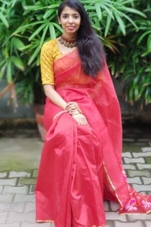 REd sequence woven orgaza saree