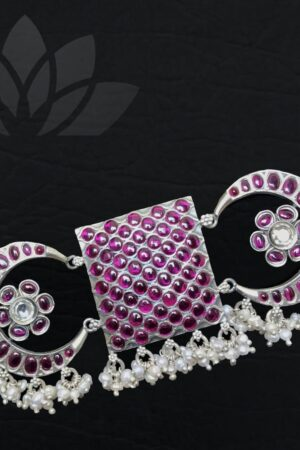 silver choker with pearls and ruby