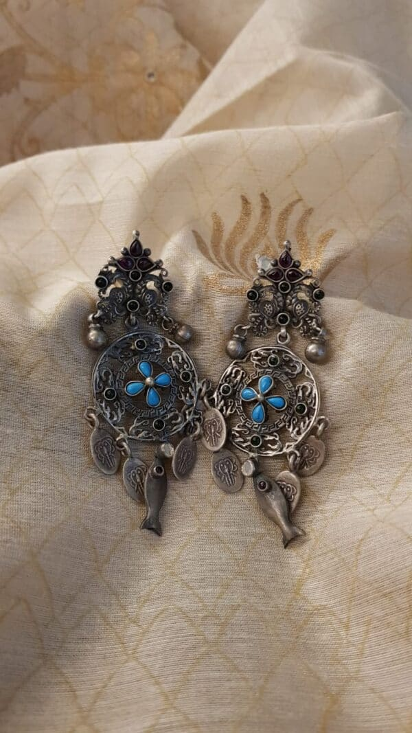 silver earrings with turquoise1