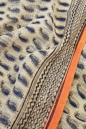 Beige and blue paisley print kota saree2