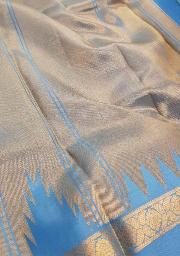 Ananda blue kanchipuram silk saree1