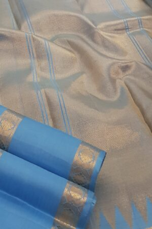 Ananda blue kanchipuram silk saree2