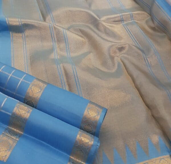 Ananda blue kanchipuram silk saree2