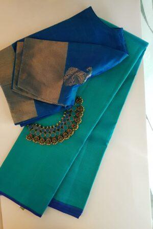 Aqua green kanchipuram silk saree with zari