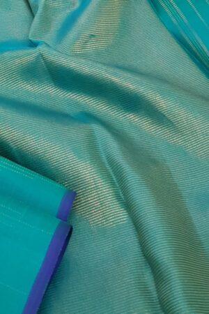 Aqua green kanchipuram silk saree with zari1