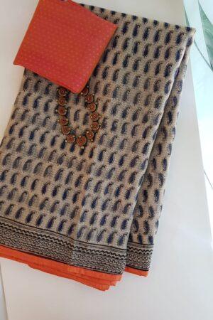 Beige and blue paisley print kota saree