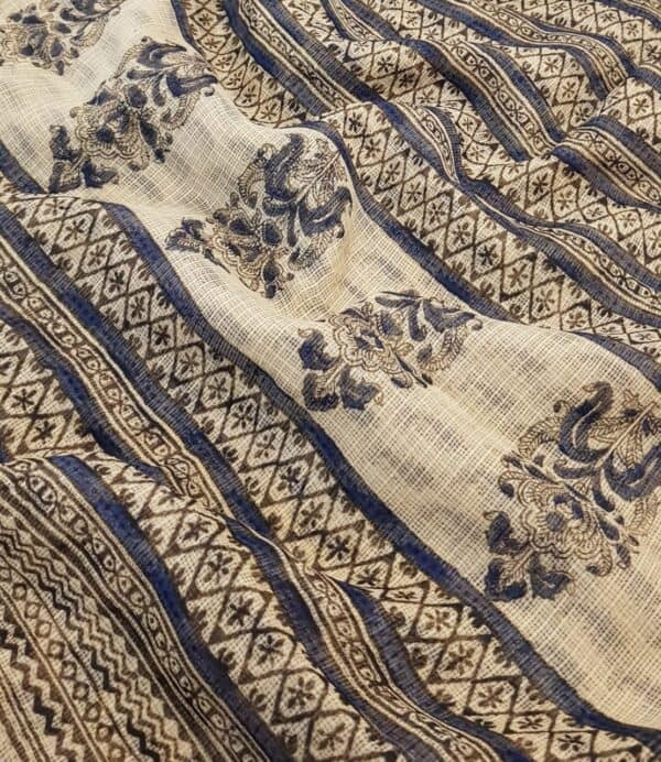 Beige and blue paisley print kota saree1