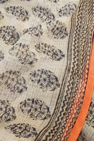 Beige and blue paisley print kota saree2