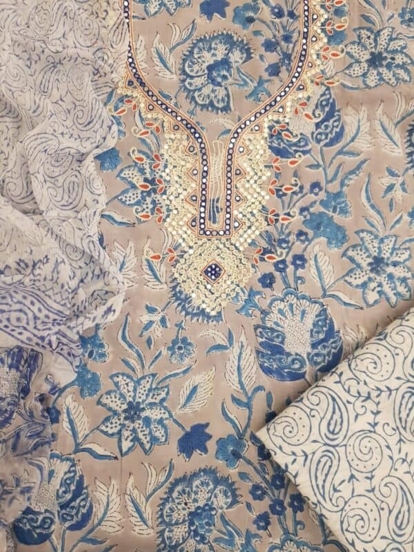 Beige and blue with neck embroidery