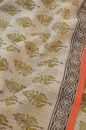 Beige and mustard block printed kota saree with silk border2