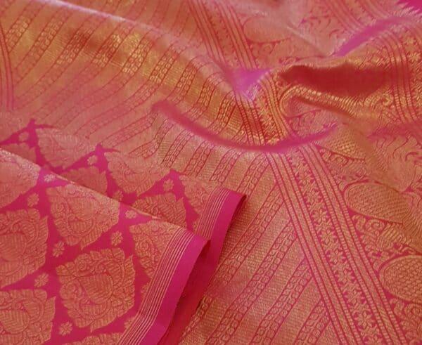Beige and pink half and half kanchipuram silk saree3