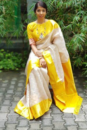 Beige organza saree with mustard silk border7