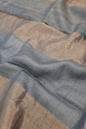 Beige with grey zari border tussar saree1