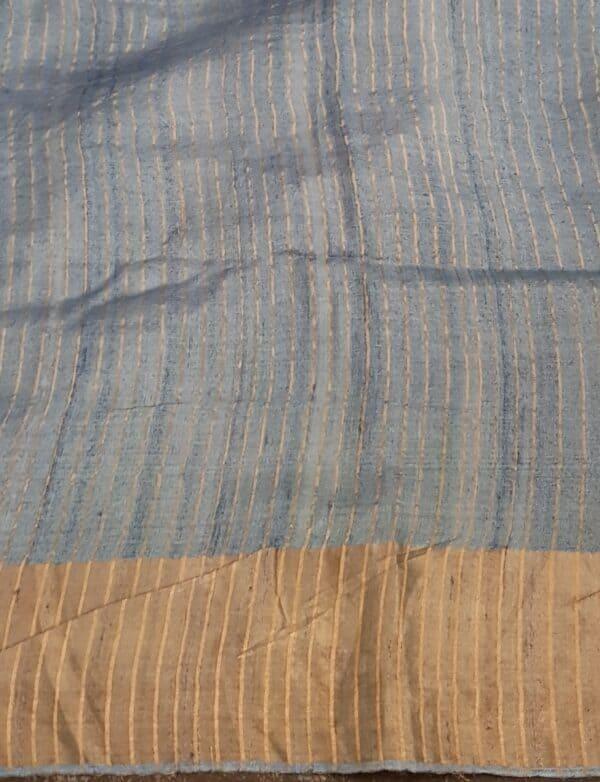 Beige with grey zari border tussar saree4