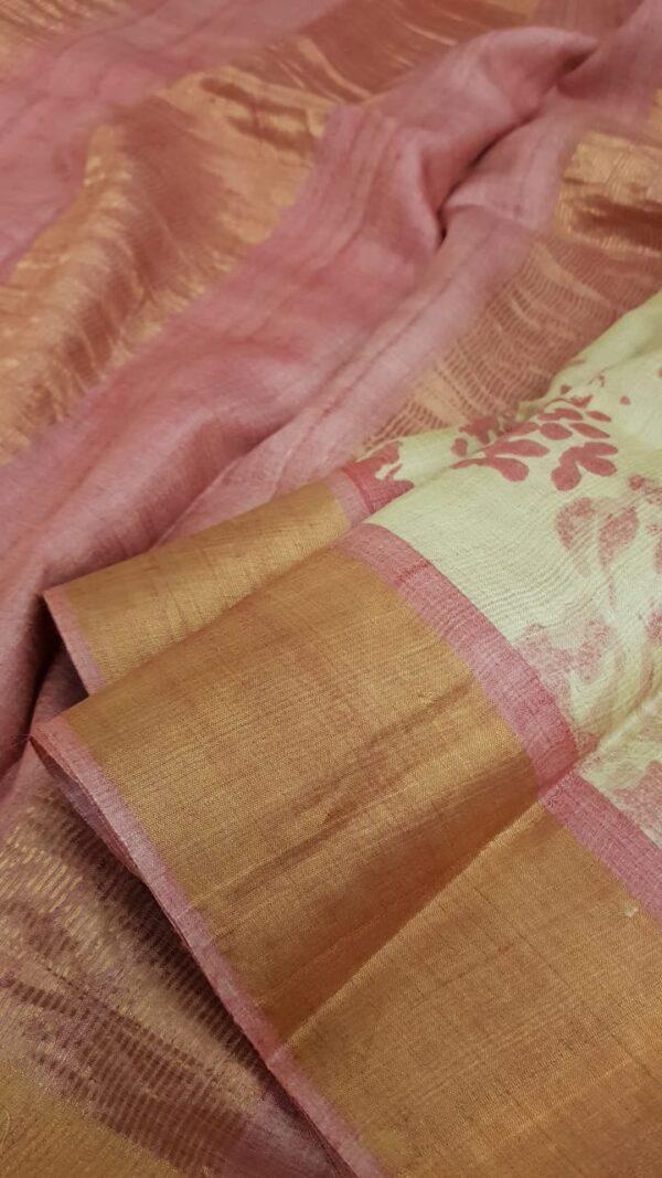 Beige with pink zari border tussar saree2