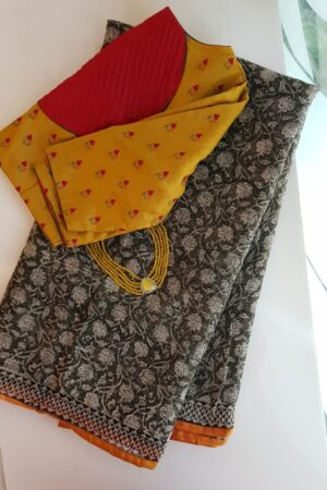 Black and beige floral print kota saree