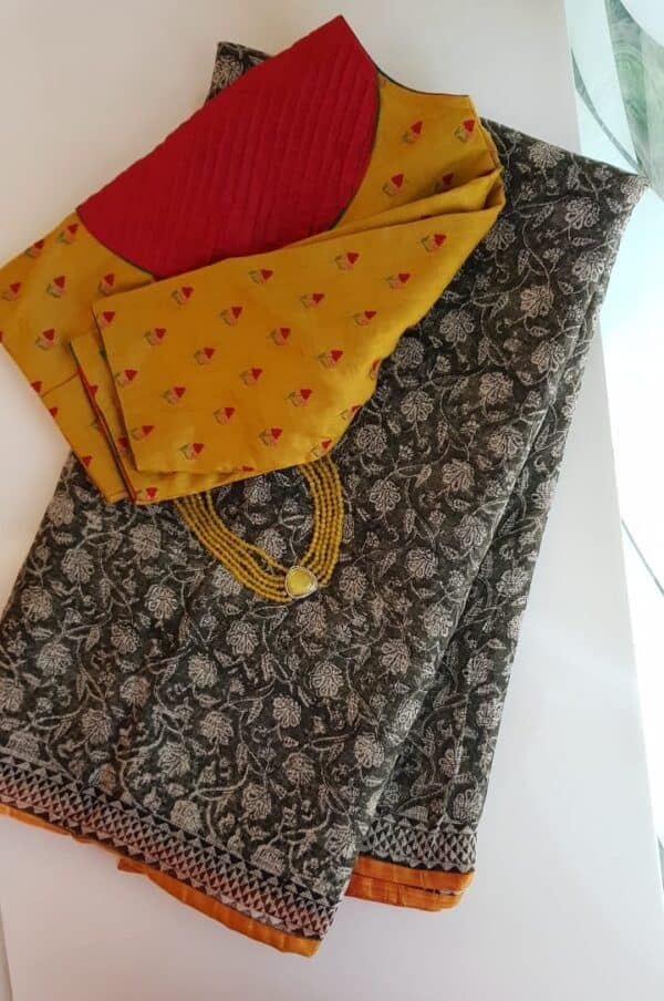 Black and beige floral print kota saree