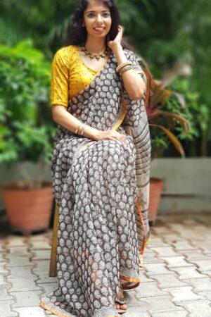 Black and beige with mustard border kota saree